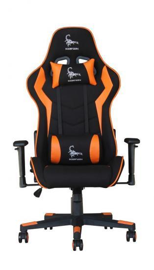 Gembird Fotel Gamingowy SCORPION, czarny materiał, pomarańczowe akcenty
