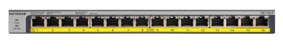 Netgear ProSafe 16-PT PoE+ Gigabit Switch Metal Budget PoE 183W (GS116PP)